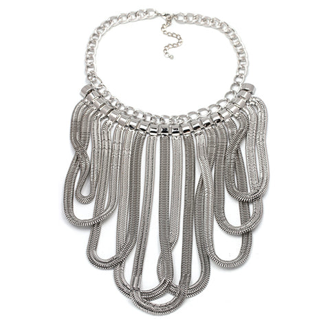 vintage metal chain statement tassel necklace for women