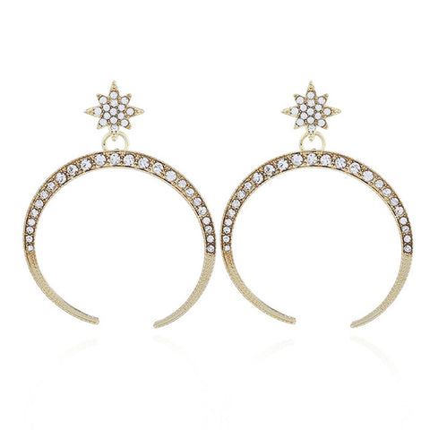 luxury big rhinestone sun & moon drop earrings for women
