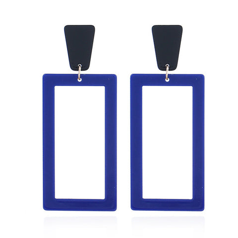trendy big rectangle dangle drop earrings for women
