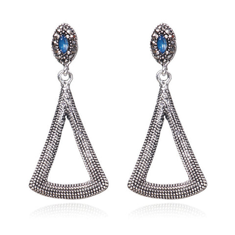 vintage crystal hollow triangle shape earrings for women