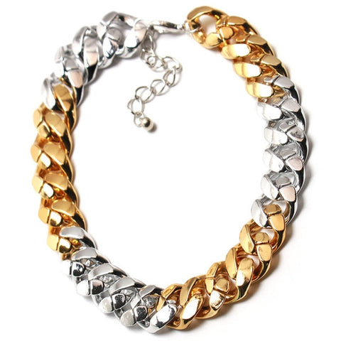 cool gold/silver plated choker statement necklace for women