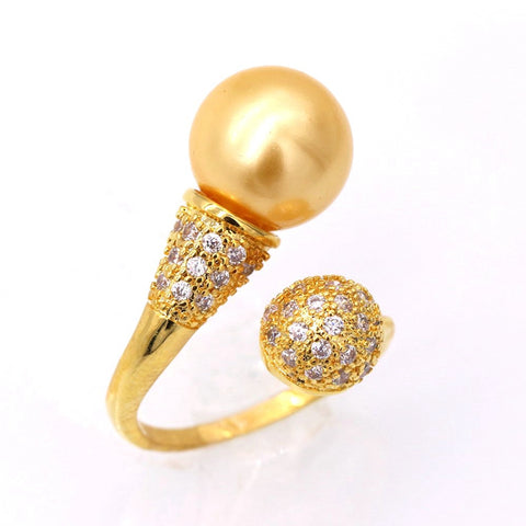 luxury yellow pearl & cubic zircon crystal ring for women