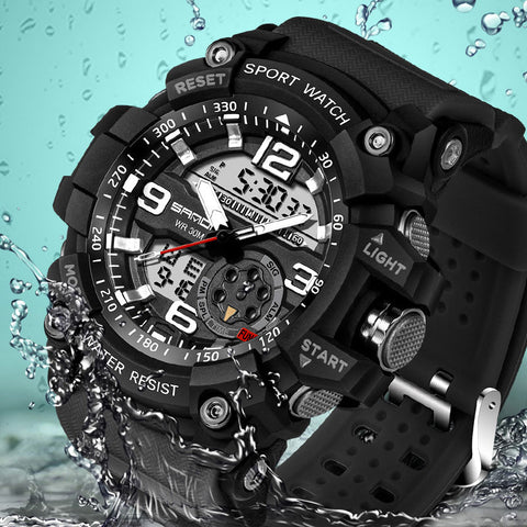 sport style waterproof silicon wrist watch for men