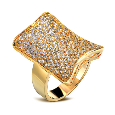 luxury cubic zircon square shape big gold color ring for women