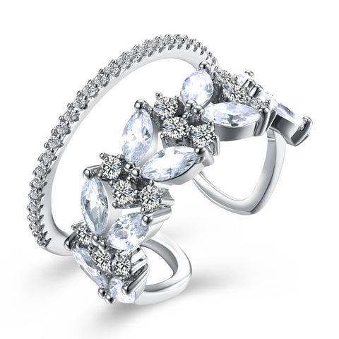 elegant silver color hollow cz crystal open ring for women