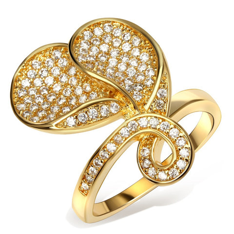 luxury cubic zircon flower shape ring for women