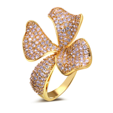 luxury full cubic zircon crystal flower shape ring for women
