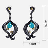 vintage black plated with cubic zircon big drop earrings for women