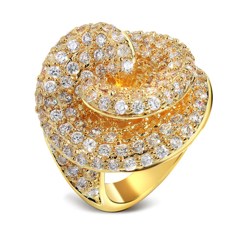 luxury full pave cubic zircon crystal gold color ring for women