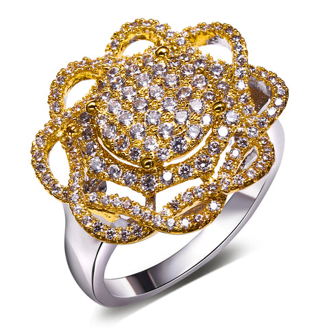 luxury cubic zircon crystal hollow flower shape ring for women
