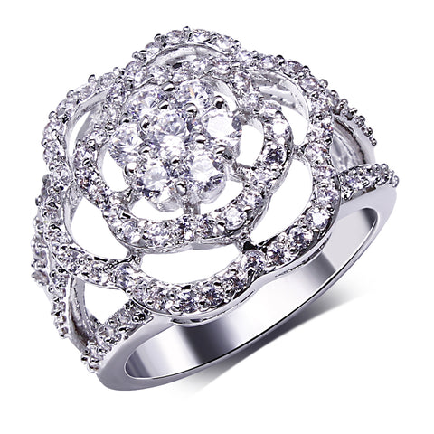 luxury silver color cubic zircon hollow flower shape ring for women