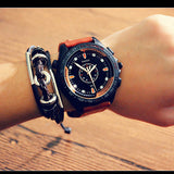 military style leather band quartz wrist watch for men