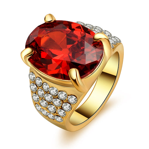 gold color big oval red stone crystal zircon ring for men