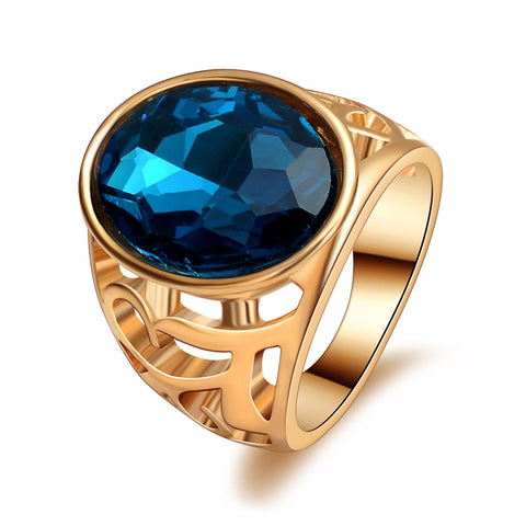 trendy gold color hollow design big blue crystal ring for men