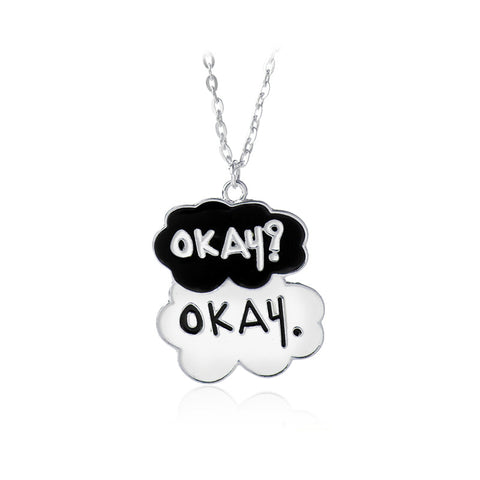 cute Okay? Okay. words cloud shape pendant necklace