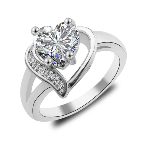 elegant style zircon crystal shape heart ring for women