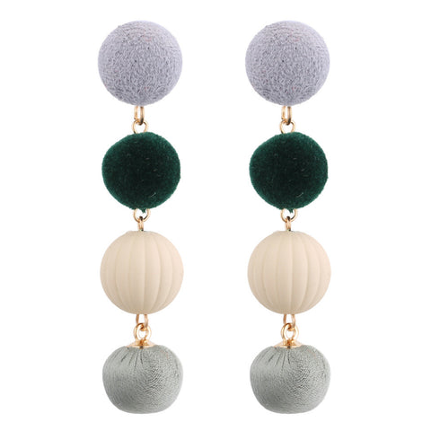 cute 3 colors Wool pompom dangle earrings for women