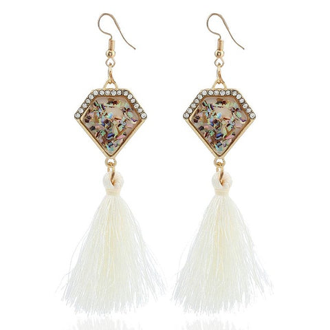 elegant style long tassel drop earrings for women