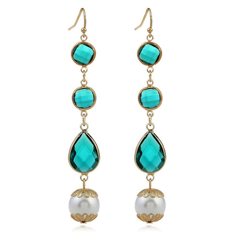 trendy crystal & simulated pearl beads tassel earrings for women