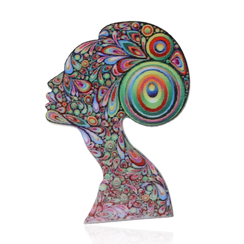 cool acrylic colorful figure brooch pin jewelry