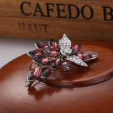 luxury big crystal & glass flower brooch pin for women