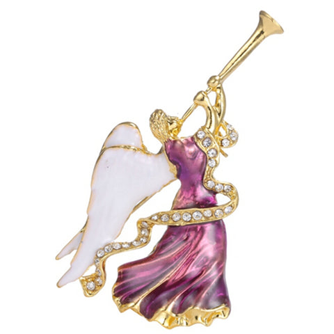 romantic small rhinestone crystal angel brooch pin jewelry