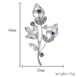 luxury crystal & glass flowers brooch pin for women