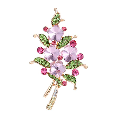 colorful crystal flower shape brooch pin for women