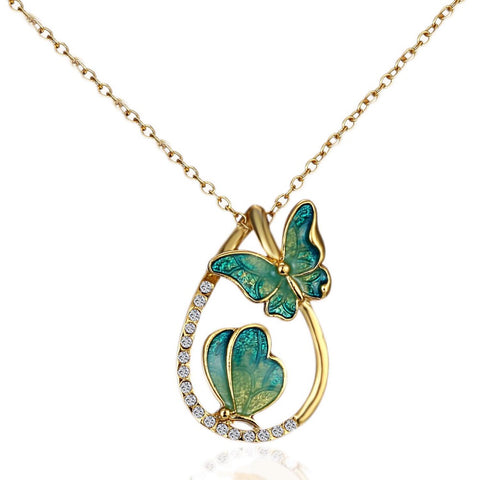 Water drop with paint butterflys pendant necklace for women
