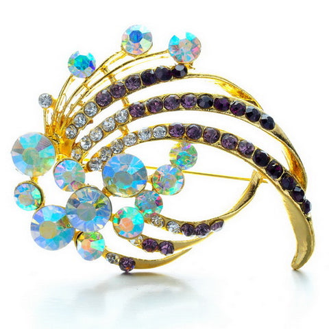 romantic colorful crystal rhinestone brooch pin for women