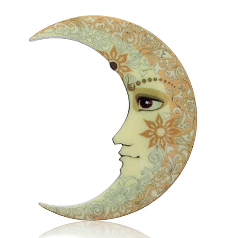 trendy acrylic moon with face brooch pin jewelry