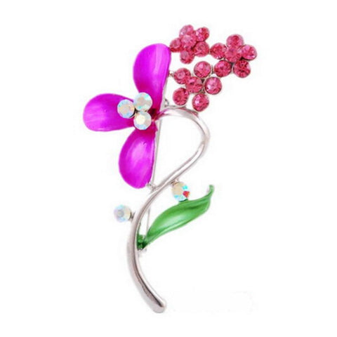 cute red crystal flower silver color brooch pin for women