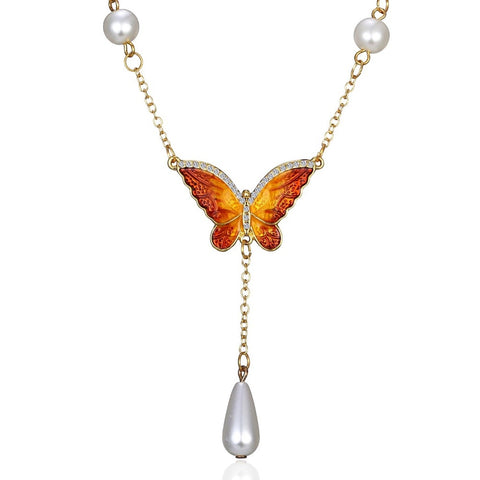 romantic butterfly & drop pearl pendant necklace for women
