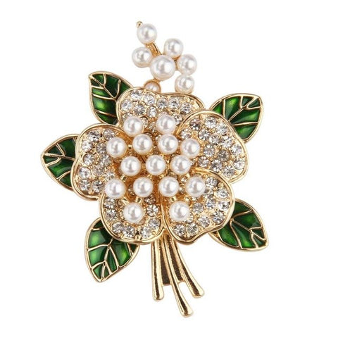elegant multi pearls flower brooch pin for women