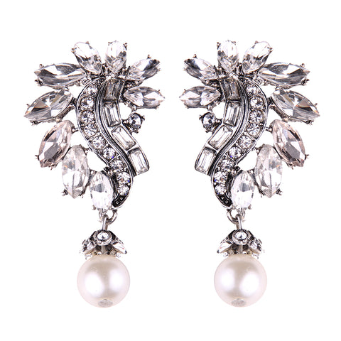 luxury simulated pearl & crystal stud earrings for women
