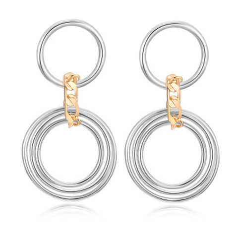 trendy simple triple iron circle loop dangle earrings for women