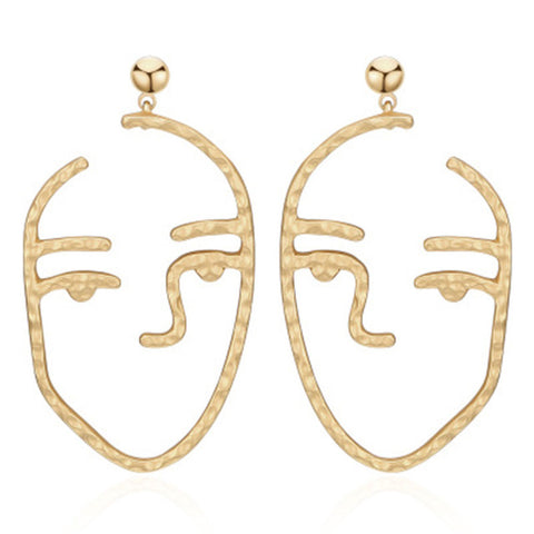 trendy hollow out metal face drop earrings For women