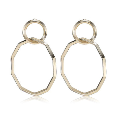 trendy double metal circle drop earrings for women