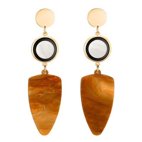 imitation shell and marble acrylic drop earrings for women