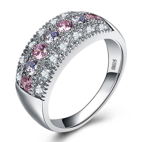 elegant silver color paved crystal zircon ring for women