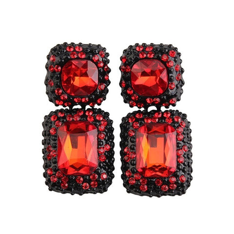 luxury geometric crystal stud earrings for women