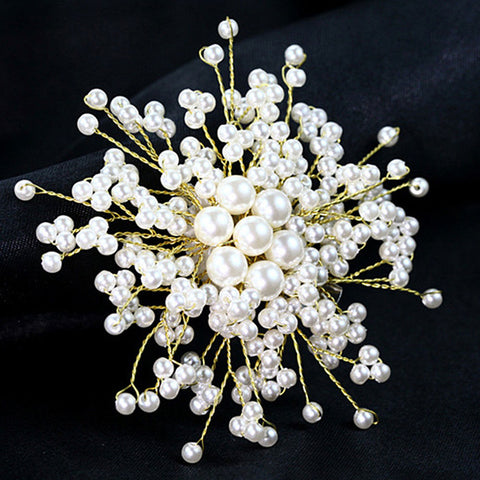 elegant blooming flower imitation pearl brooch pin for women