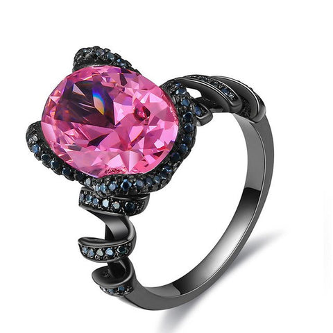 trendy big pink cz crystal black color ring for women