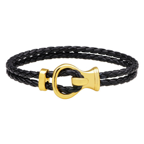 punk style wrap leather clasp charm bracelet for men