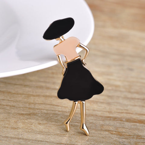 trendy metal women figure brooch pin for women