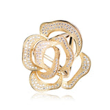 luxury large crystal rose flower scarf hollow brooch for women