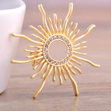 trendy rhinestone sun shape brooch pin for women