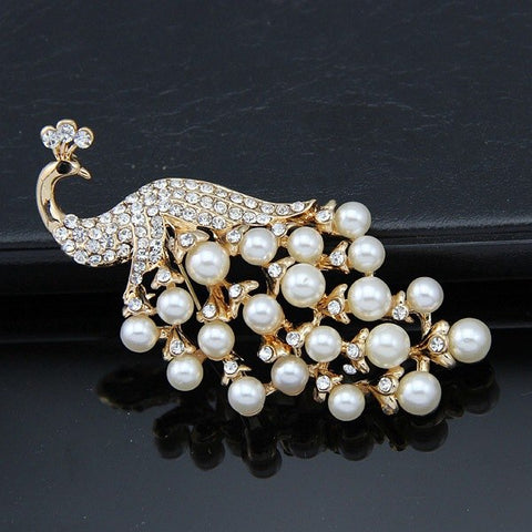 elegant simulated pearl & crystal peacock brooche pin for women