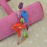 colorful crystal rhinestone lily flowers brooch pin for women