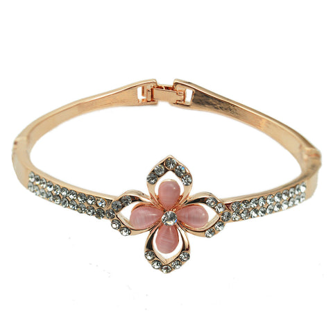 simple design crystal flower cuff bangle bracelet for women